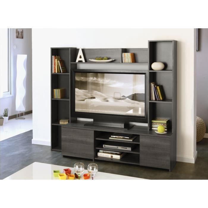 Grey meuble tv mural 165cm d cor r glisse achat vente for Meuble mural 100 cm