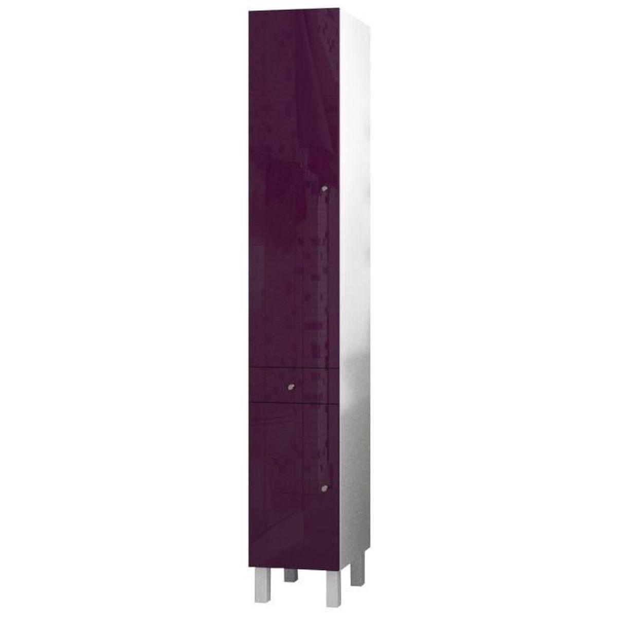 Corail colonne de salle de bain l 30 cm aubergine laqu - Colonne salle de bain laque ...
