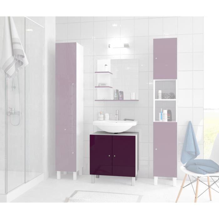 Corail meuble sous lavabo 60 cm aubergine achat for Lavabo plus meuble