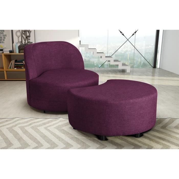 swivel fauteuil pivotant aubergine pouf achat vente fauteuil carcasse en bois massif pin. Black Bedroom Furniture Sets. Home Design Ideas