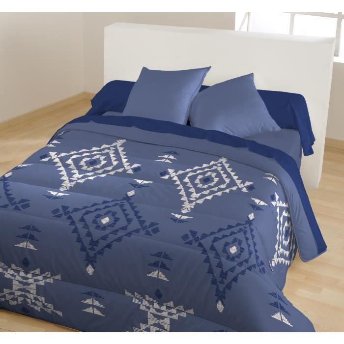 Caline couette chaude imprim e amaya 140x200 cm bleu for Couette imprimee
