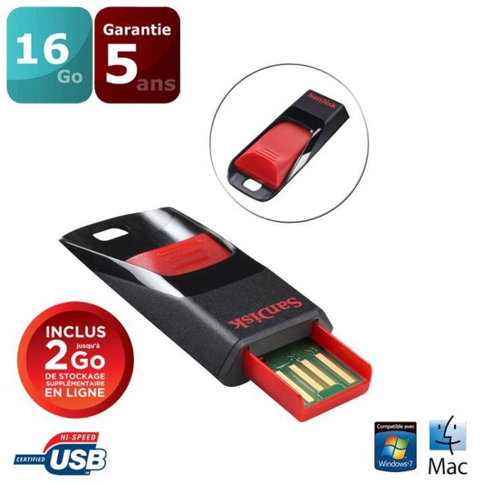 CLÉ USB SANDISK Clé USB Cruzer Edge - 16Gb - 2.0 - Noir /