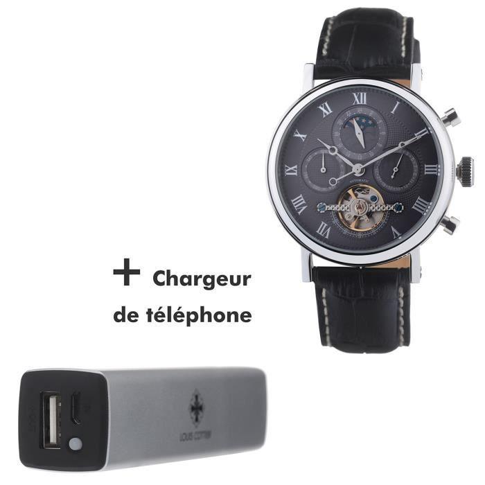 louis cottier coffret montre automatique tradition bracelet cuir 1 chargeur portable homme. Black Bedroom Furniture Sets. Home Design Ideas