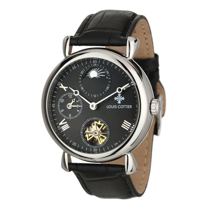 louis cottier montre automatique travelling homme noir chic classique achat vente montre. Black Bedroom Furniture Sets. Home Design Ideas