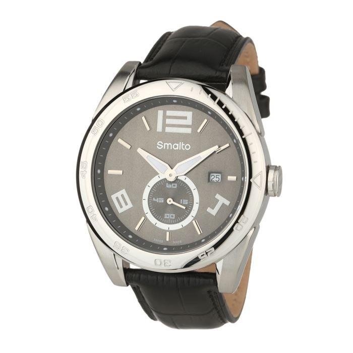 smalto montre timeless bracelet cuir homme noir tendance achat vente montre cdiscount. Black Bedroom Furniture Sets. Home Design Ideas