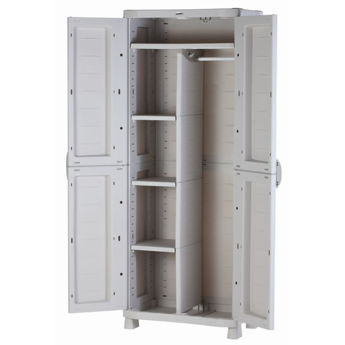 Plastiken armoire de rangement basse xxl 2 tag res achat vente etabli - Cdiscount armoire de rangement ...