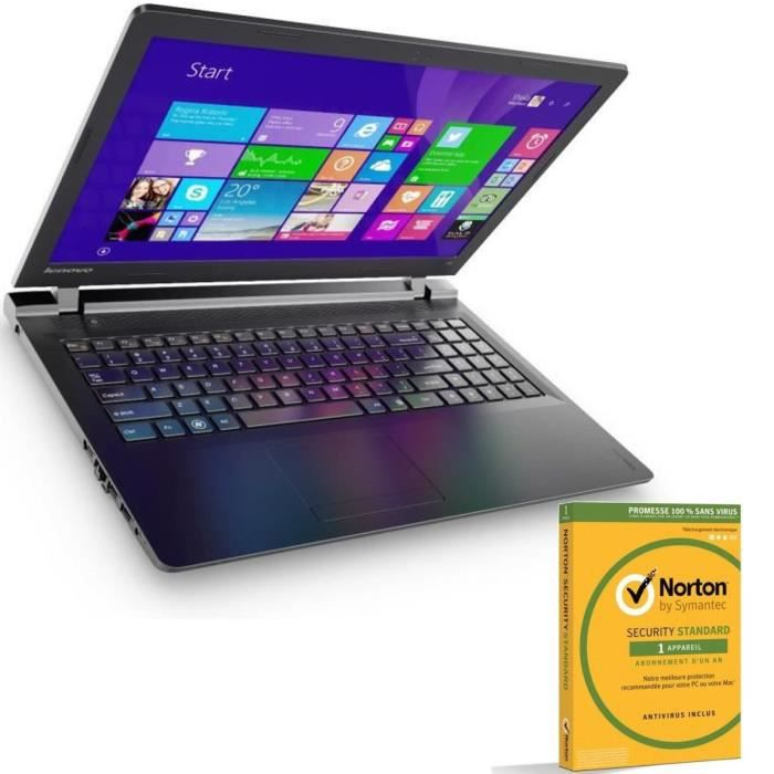 lenovo pc portable ideapad 100 15 norton security 2016 ordinateurpascher. Black Bedroom Furniture Sets. Home Design Ideas