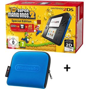 CONSOLE 2DS Pack 2DS Bleue + New Super Mario Bros 2 + Housse B