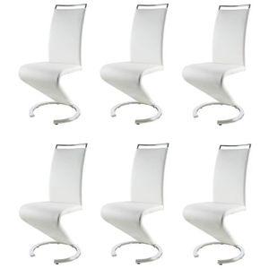 CHAISE SIDNEY Lot de 6 chaises salon blanc