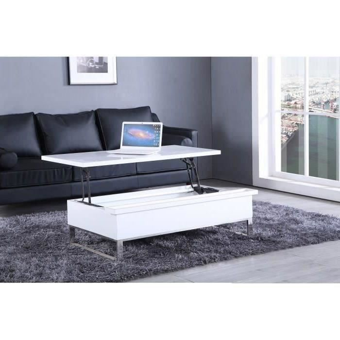 Mado table basse trasnformable avec plateau relevable for Table basse scandinave blanc laque