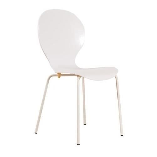 CHAISE CIRCLE ROLL Lot de 2 chaises empilables blanches -
