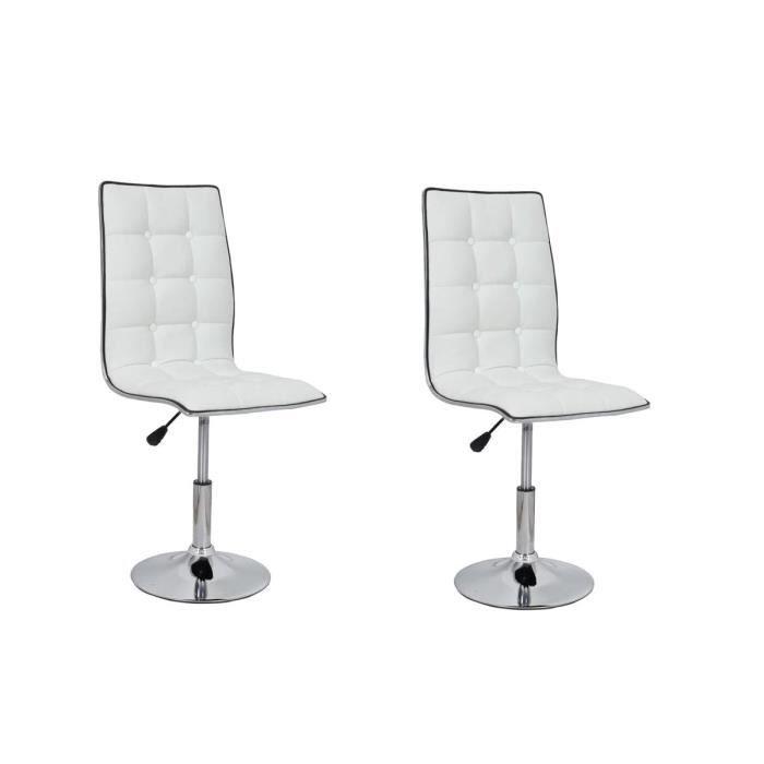 CHAISE LEAF Lot de 2 chaises de salle à manger blanches