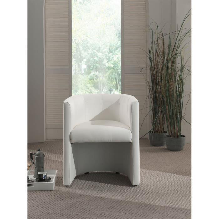 Corfu fauteuil cabriolet en simili blanc achat vente fauteuil cdiscount - Fauteuil cabriolet blanc ...