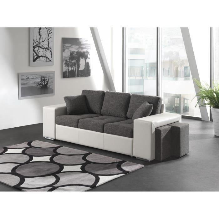 Oslo canap droit 3 places tissu pvc gris blanc achat for Canape 3 places avec pouf