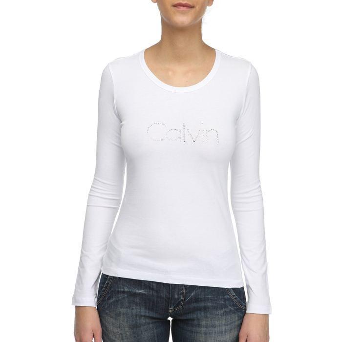 Calvin klein jeans t shirt femme blanc blanc achat - Tee shirt manche longue calvin klein ...