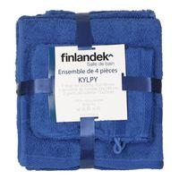 FINLANDEK Set 2 Serviettes + 2 Gants KYLPY Bleu