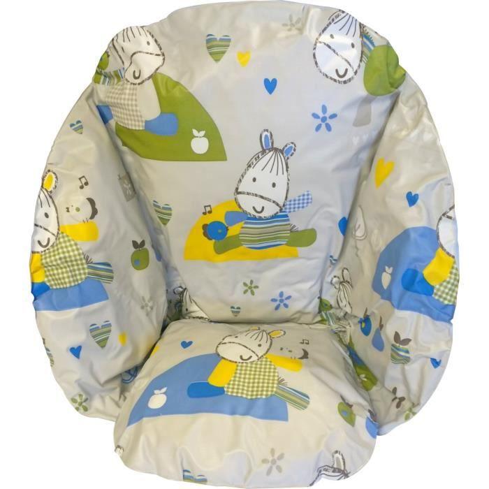 Roudoudou coussin de chaise bleu achat vente chaise for Chaise haute bebe carrefour