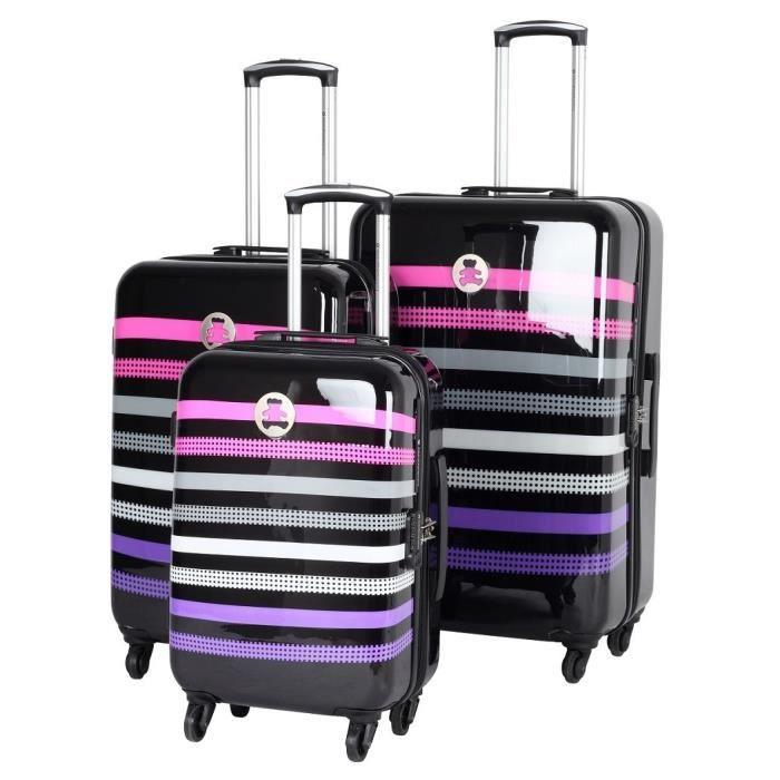 lulu castagnette set de 3 valises noir achat vente set de valises 3700766352630 cdiscount. Black Bedroom Furniture Sets. Home Design Ideas
