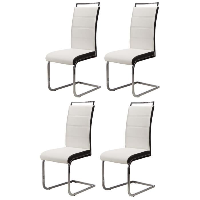 dylan lot de 4 chaises salon blanc noir achat vente chaise cdiscount. Black Bedroom Furniture Sets. Home Design Ideas