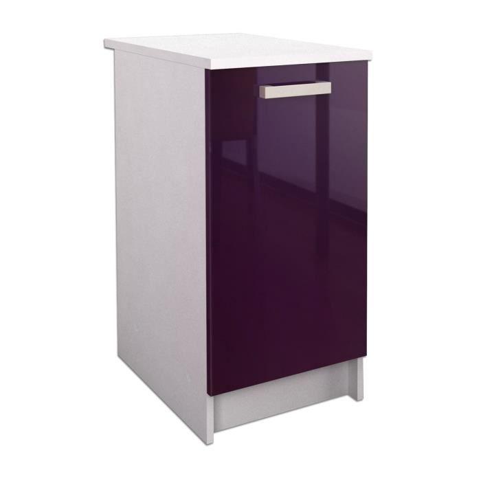 start caisson bas de cuisine 40 cm aubergine haute. Black Bedroom Furniture Sets. Home Design Ideas