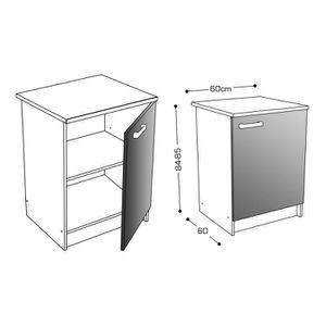 Meuble bas de cuisine blanc laque achat vente meuble - Caisson cuisine bas 60 cm ...