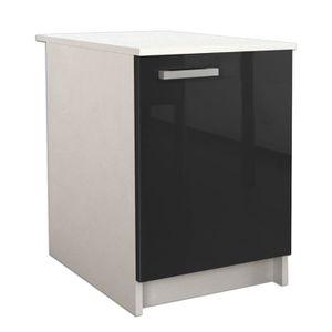 start meuble bas de cuisine l 60 cm noir brillant. Black Bedroom Furniture Sets. Home Design Ideas