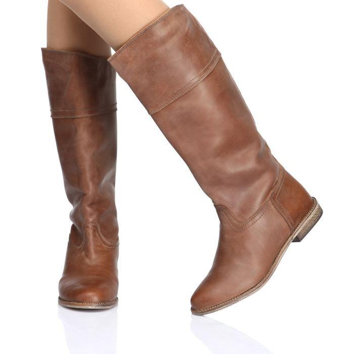 95267c179871 Bottes COOL WAY femme. Chaussures à tige haute en cuir Daim Nubuck