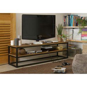 MEUBLE TV FACTO Meuble TV industriel plateau plaqué chêne ve