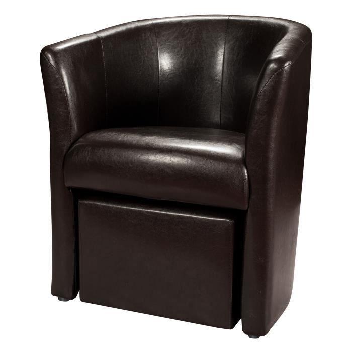 Baya fauteuil pouf en simili cabriolet marron achat vente fauteuil pv - Fauteuil cabriolet pouf ...