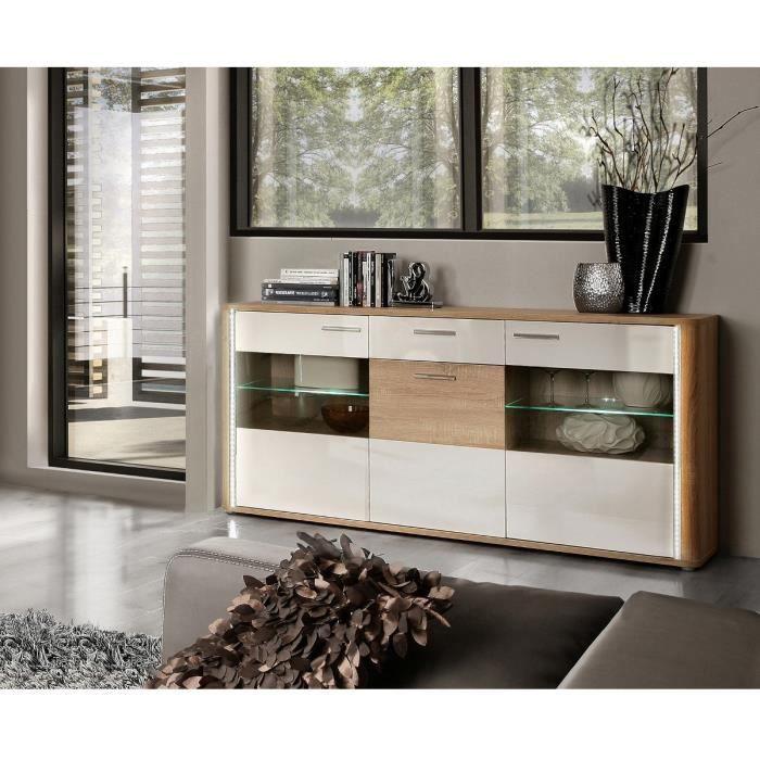 calimero buffet 173cm blanc et d cor ch ne sonoma achat vente buffet bahut calimero buffet. Black Bedroom Furniture Sets. Home Design Ideas