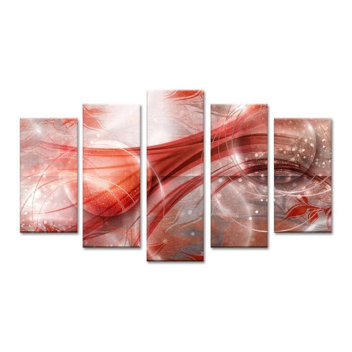 Cosmos tableau multi panneaux 150x80 cm rouge abstrait - Tableau multi panneaux ...