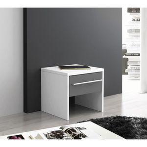 CHEVET FINLANDEK Chevet 1 tiroir 39x37cm blanc gris PEHME