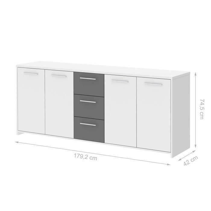 finlandek buffet pilvi 180cm blanc et gris achat vente buffet bahut finlandek enfilade. Black Bedroom Furniture Sets. Home Design Ideas