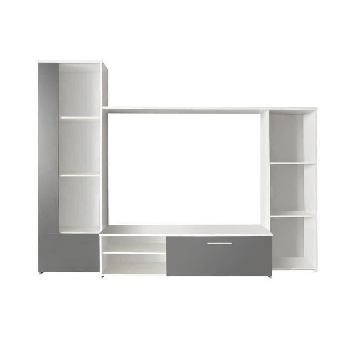 Finlandek meuble tv mural pilvi 220cm coloris blanc et for Meuble tv blanc et gris