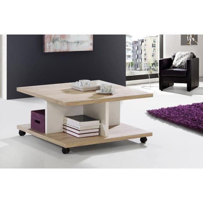 Finlandek table basse 75cm bicolore beige et blanche - Table basse fabrication maison ...