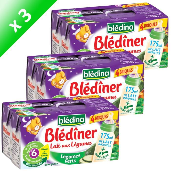 Lot de 3 BLEDINER 4 Briques Soupe Lait aux Légumes Verts. Soit 12