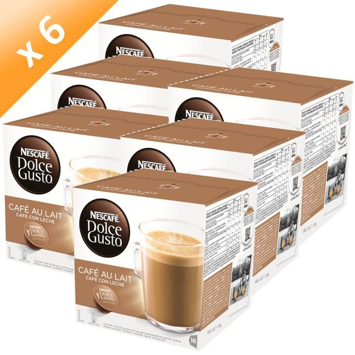 dolce gusto caf au lait 16 capsules 160g x6 achat. Black Bedroom Furniture Sets. Home Design Ideas