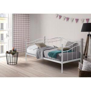 lit metal 90 x 190 achat vente lit metal 90 x 190 pas cher cdiscount. Black Bedroom Furniture Sets. Home Design Ideas