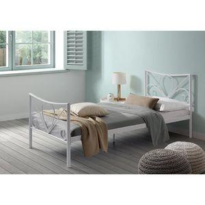 lit metal blanc achat vente lit metal blanc pas cher les soldes sur cdiscount cdiscount. Black Bedroom Furniture Sets. Home Design Ideas