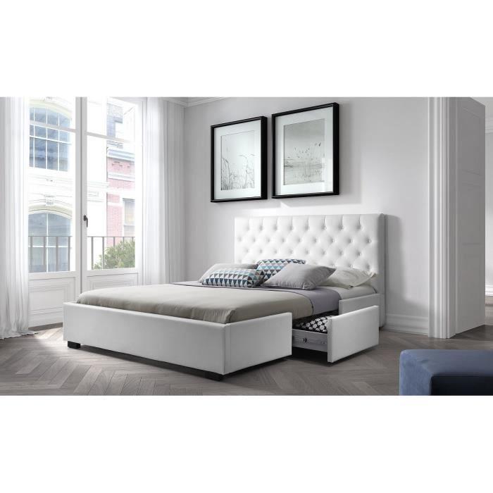 Louis structure de lit 140x190 cm sommier 2 tiroirs simili blanc ac - Lit 140x190 blanc avec tiroir ...