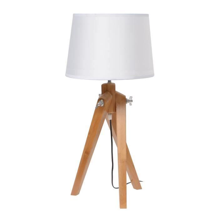 Naturel lampe poser pied bois abj tissu blanc achat for Lampe pied en bois