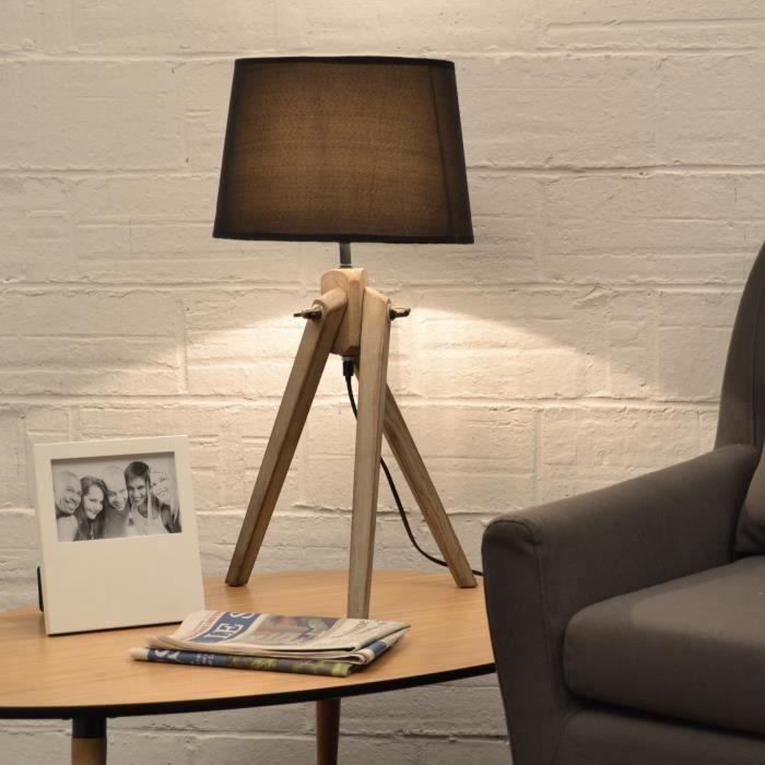 naturel lampe poser pied bois abj tissu noir achat vente naturel lampe poser bois. Black Bedroom Furniture Sets. Home Design Ideas