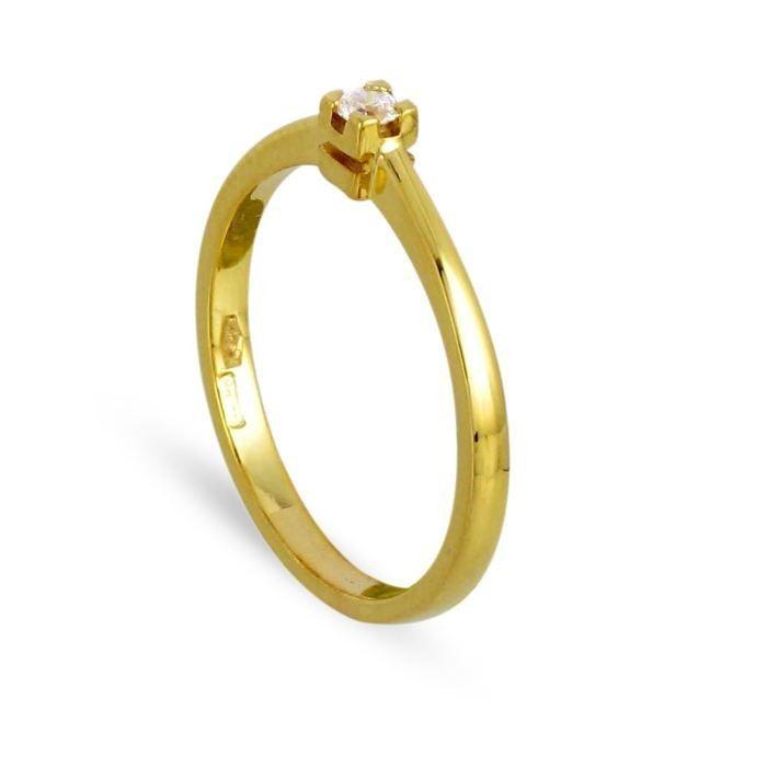 ... de l'or : 0,9 g. Serti 4 griffes. Bague de fiançailles ou de mariage
