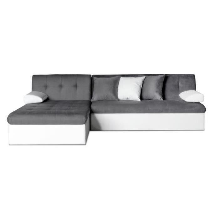 finlandek canap d 39 angle convertible levea en bois massif 5 places simili et tissu gris et. Black Bedroom Furniture Sets. Home Design Ideas