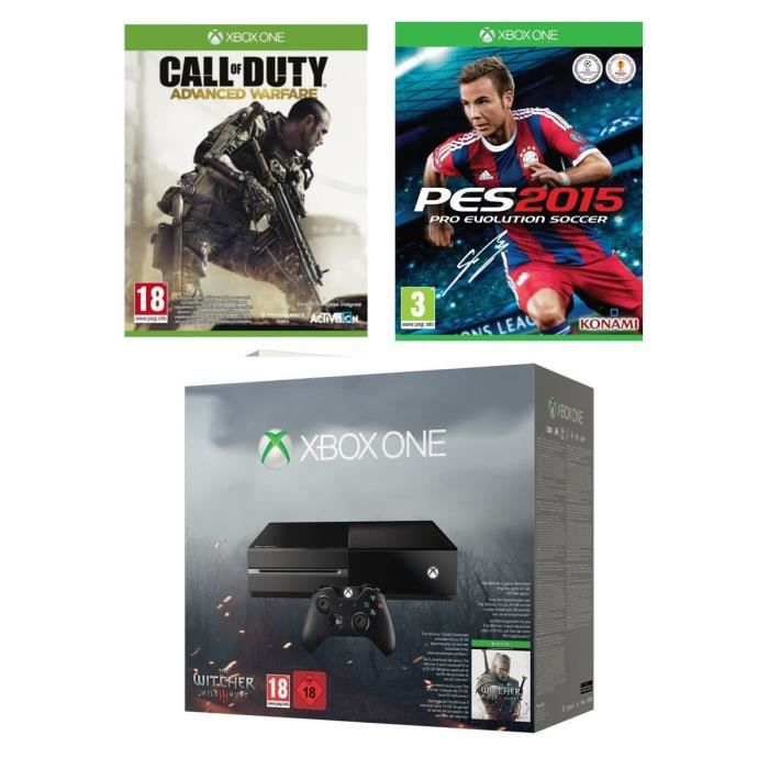 xbox one 500 go noire the witcher 3 call of duty advanced warfare pes 2015 achat vente. Black Bedroom Furniture Sets. Home Design Ideas