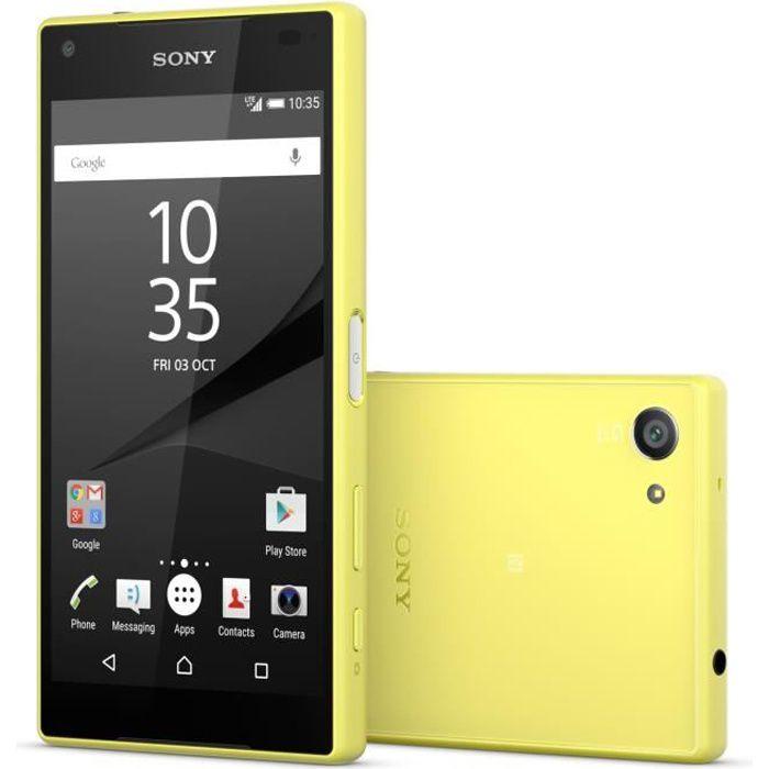 sony xperia z5 compact jaune achat smartphone pas cher avis et meilleur prix cdiscount. Black Bedroom Furniture Sets. Home Design Ideas