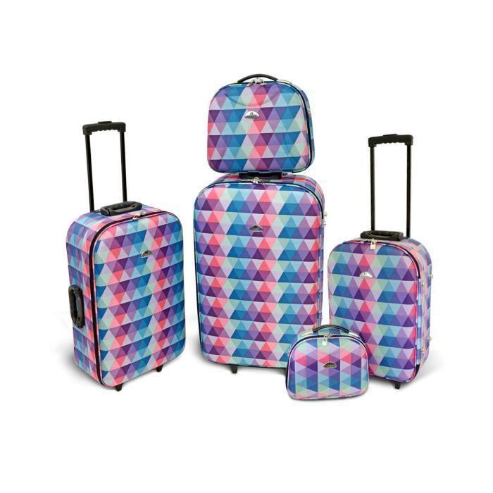 kinston set de 3 valises souple 4 roues 50 61 71cm 2 vanity 23 5 28cm multicolore multicolore. Black Bedroom Furniture Sets. Home Design Ideas