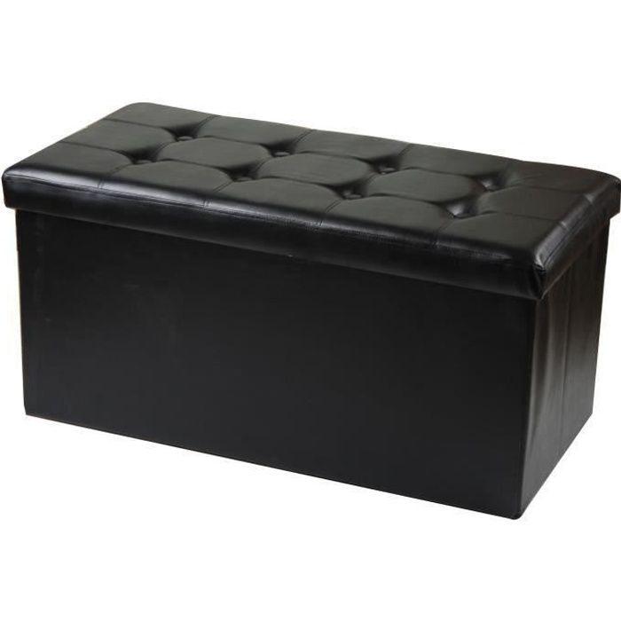 Pouf et coffre rangement pliable noir 38 cm achat vente banc synth tique - Pouf coffre rangement ...