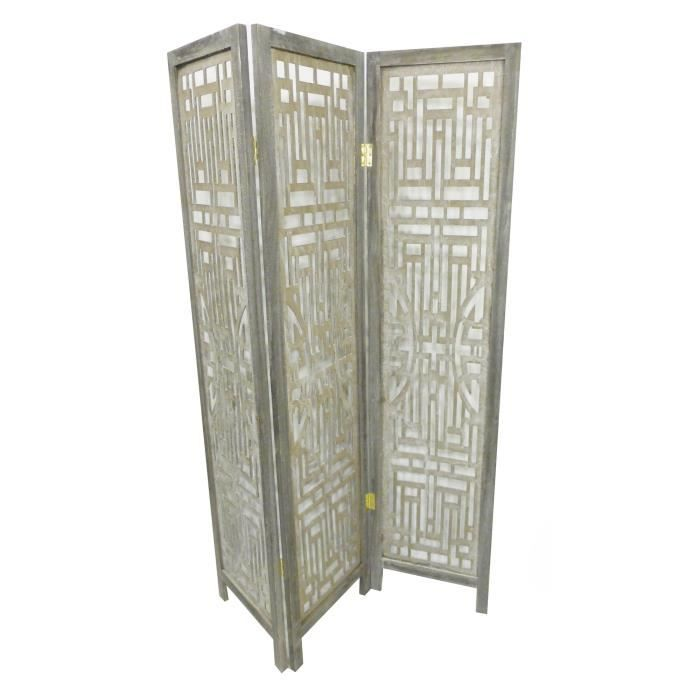 art deco paravent en bois 120x170 cm gris achat vente paravent bois massif cdiscount. Black Bedroom Furniture Sets. Home Design Ideas