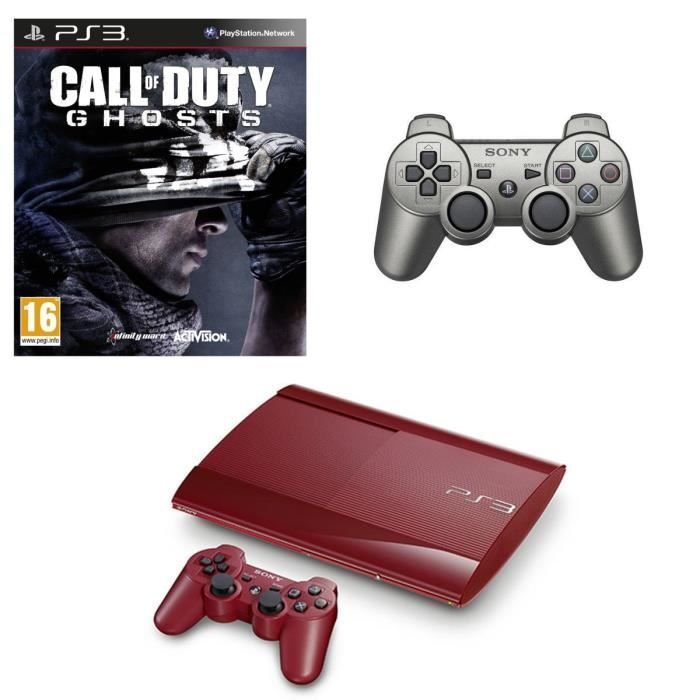 CONSOLE PS3 Pack PS3 500 Go Rouge + 2 Manettes + Call of Duty